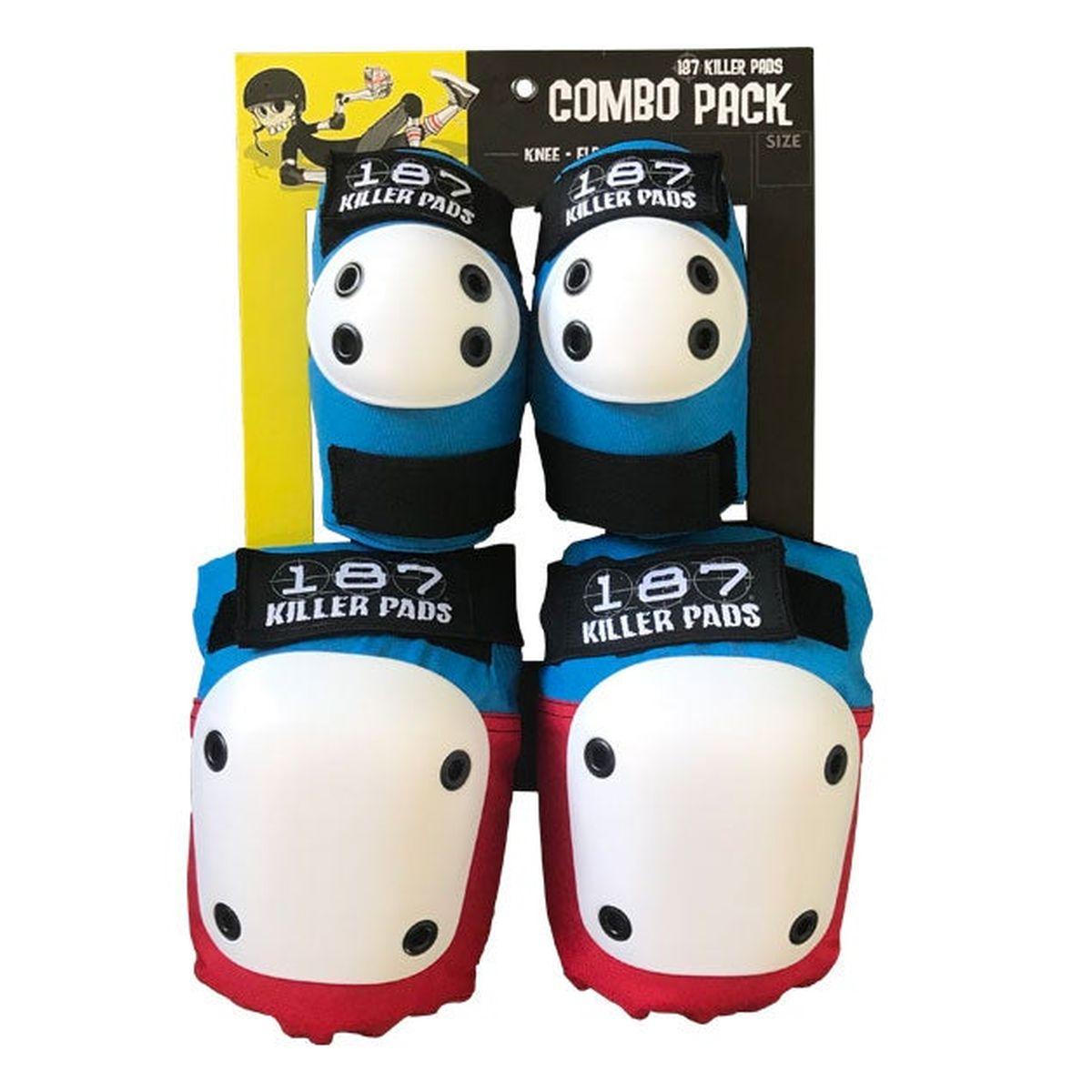Ochraniacze 187 Killer Pads Combo Pack Red / White / Blue