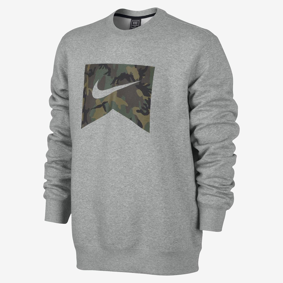tania wyprzedaż Całkiem nowy szczegółowe zdjęcia Bluza Nike Foundation Camo Fill Crew Grey